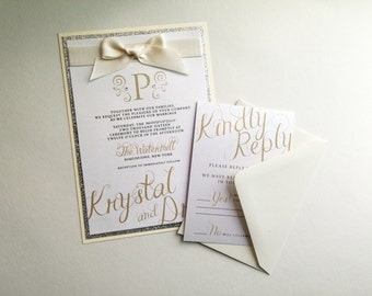romantic ivory and silver wedding invitations - Ivory Wedding Invitations