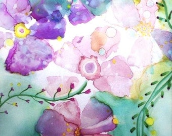 Contemporary Print, Wall Art Print, Pastel Garden Art, Floral Watercolor, Bedroom Art Work, Alcohol Ink Art Painting, Women's Gift, Giclee