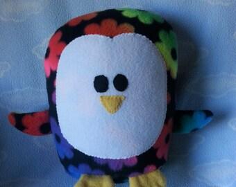 Plush Flower Power Penguin Pillow Pal, Baby Safe, Machine Washable