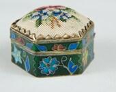 Tiny Enamel Pill Box Petit Point Top Floral Vintage-B4
