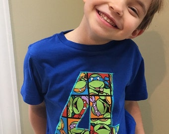 New custom njnja turtle number short sleeve t'shirt