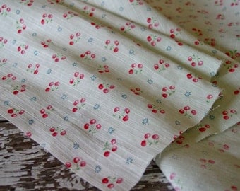 Antique Darling Old French Cotton Dimity Fabric with Cherries and blue blossoms, half yard