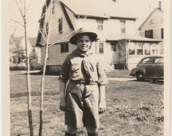 1940's Young boy in scout uniform vintage photo