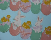 Vintage Cardboard Die Cut Easter Dennison Boarder Strip with Eggs, Bunnys and Chicks