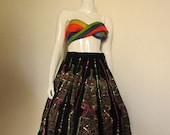 50's Vintage Hand Painted Mexican Black  Skirt medium/large