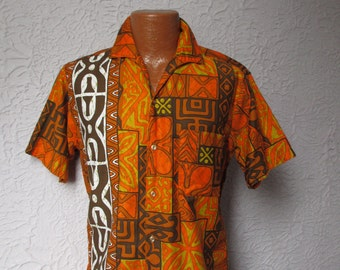 60s Vintage Men's Tribal Atomic  Hawaiian Shirt soft cotton med.