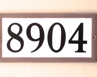 MOCHA Border Custom Tile HOUSE NUMBER // 5 x 10