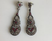 RUBY  Red and Clear Rhinestone Drop Vintage Earrings