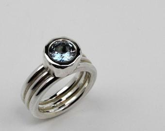 Aquamarine and triple band ring