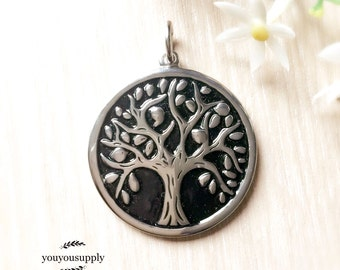 Unisex Family Tree Stainless Steel Round Pendant-Tree of Life
