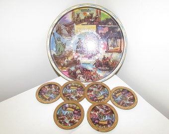 Tin Drink Tray with Matching Coasters USA Bicentennial 1776