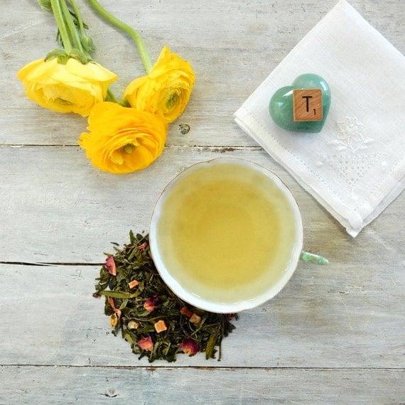 Spring Fancy Green and White Tea • 3.5 oz. Kraft Bag • Loose Leaf Tropical Fruit Blend