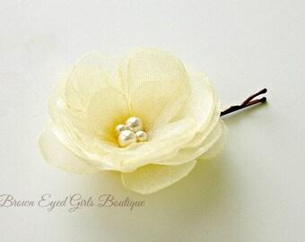 Yellow Bridal Flower, Yellow Wedding Hair Accessory, Yellow Bobby Pin, Yellow Bridal HeadPiece, Yellow Fascinator