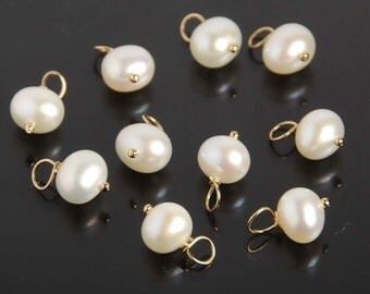 6mm Fresh Water Pearl charm with 14K Gold filled Ball Pin, Potato Shape Pearls, Natural Pearls, Hand Made, Loop 1.8-2.0mm, 10 pcs