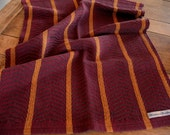 Burgundy and Gold Striped Handwoven Cotton Dishtowel
