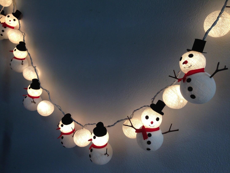 Ball String Christmas Lights : Christmas set Snowman & Snowball cotton ball string lights for