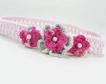Crocheted baby headband, baby headband, baby accessory, baby girl gift, pink headband, READY TO SHIP