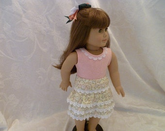 18 Inch Doll Forest Animal print Lacy Ruffled Skirt, Pink Tank Top, Pinwheel Hair Tie