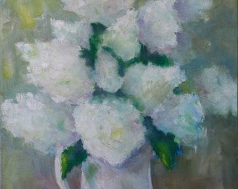 Hydrangea Painting - original oil - white flowers - summer garden - vase of flowers - srill life floral - impressionist style - wall art