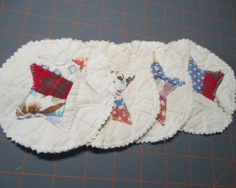 Recycled Quilted Coasters - Set Of 4 - Stars