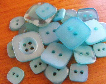 25 Teal Square Buttons Grab Bag Assorted Multi Size Crafting Sewing Buttons