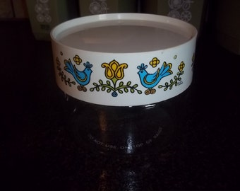 Vintage Pyrex Corning Blue Birds Country Festival glass Counterparts Canister