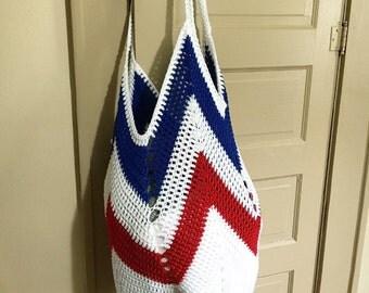Tote bag - crochet market bag - beach bag - crochet tote - ecofriendly - free shipping - red white and blue bag