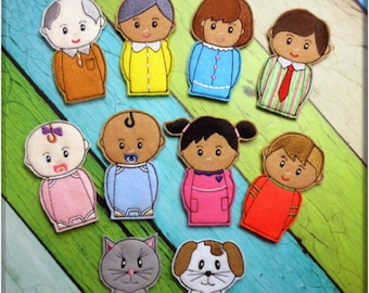 In the Hoop Family Finger Puppet Embroidery Machine Design Set