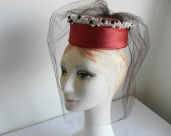 Red Satin Pillbox Hat with Pearls and Black, Removable Veil by Raymond Hudd