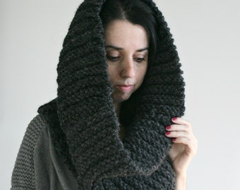 Large Chunky Ribbed Knit Cowl, Hooded Scarf, Cozy Infinity Scarf//Charcoal//THE T.O.Warmer