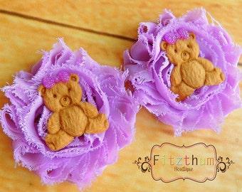 Purple shabby chiffin teddy bear pig tail clips