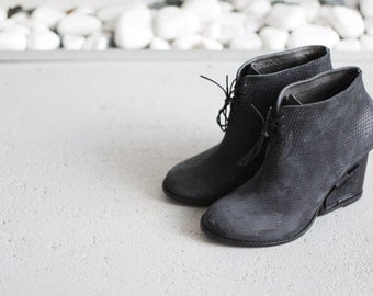 ZURIE - Black - FREE SHIPPING Handmade Leather Bootie with winter sale price