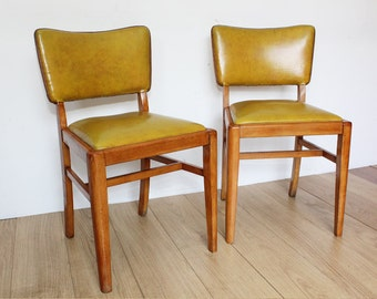 Pair of Vintage Retro 1950s Dining Chairs by Beautility - Mustard Yellow Vinyl