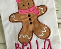 Gingerbread Girl Christmas Personalized Monogrammed Embroidered/Appliqued Onesie orT-shirt