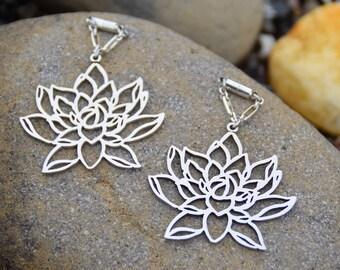 "Lotus Flower Magnetic Clasp Gauged Earrings -  Sizes 0g - 1"""