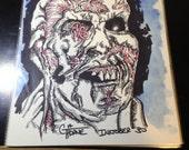 Original Ink Drawing INKtober Drawing #30 - ZOMBIE  mixed media ink / watercolor