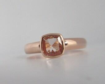 Rose gold Morganite cushion gemstone ring alternative engagement ring
