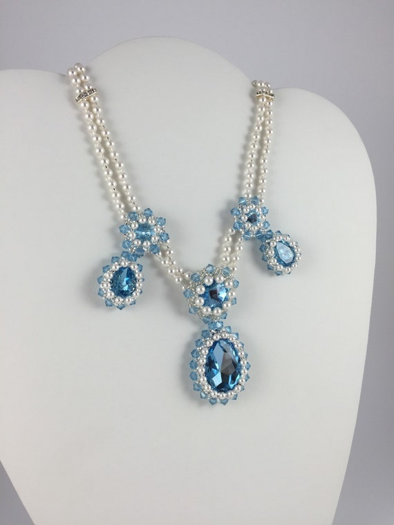 Photo: Something Blue Necklace Set, Aquamarine Bridal Crystal Necklace & Earring Wedding Set, Prom Necklace, Formal Necklace, Statement Jewelry by andreaturinijewelry