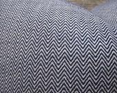 3BM Designer Pillow Cover Lumbar, 16 x 16, 18 x 18, 20 x 20, 22 x 22 - Herringbone - Nate Berkus Lyons Caspian - Navy
