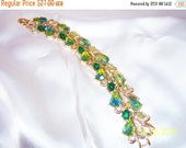 "SALE Vintage Designer Signed ""Art"" Gold Tone and Art Glass Green Crystals Bracelet"