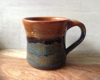 Ceramic Coffee Mug, Handmade Pottery Mug, Rustic Blue and Brown Mug, Ceramic Tea Cup, 16 oz. Pottery Mug
