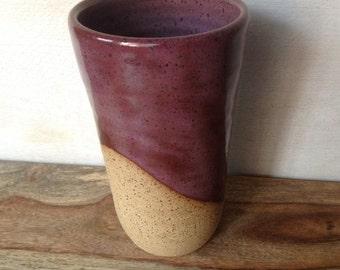 Ceramic Tumbler, Handmade Pottery Cup, Handless Mug, Smokey Merlot Tumbler, Tea Cup, Handmade Pottery Gifts, Handmade Pottery Tumbler