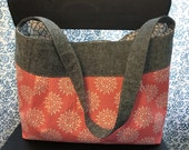 Coral and Charcoal Gray Pleated Purse