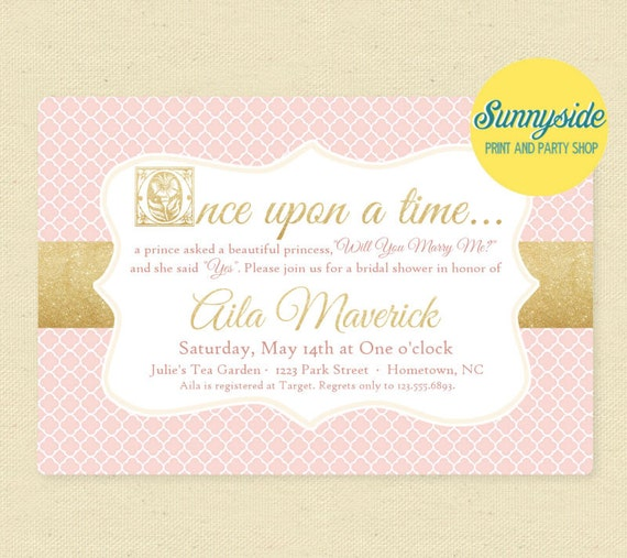 Once Upon a Time Bridal Shower Storybook Invitation, Printable ...