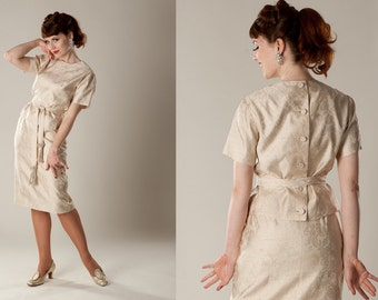 Vintage 1960s Silk Wedding Suit - 3 Piece Dress - Nicholas Ungar Bridal Fashions