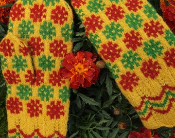 Finely Hand Knitted Estonia Mittens with Pure Vivid Joy