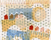 Original mixed media modern art geometric shapes patterns grey sepia white red yellow blue houses bridges