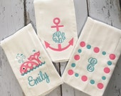 Girl Personalized  Nautical Whale Anchor Burp Cloths Set of 3  Pink and Turquoise