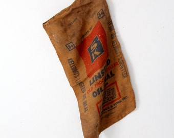 vintage Kelloggs burlap sack, old farm seed bag