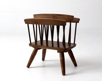 vintage magazine rack, mid century modern wood stand